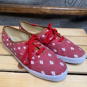 Keds Tribal Aztec Printed Red Canvas Sneakers